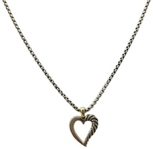 David Yurman Sterling silver 14K yellow gold David Yurman heart pendant necklace