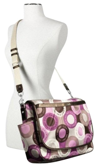 Coach Snaphead F18377 Multifunction Messenger Pink Brown Multicolor Signature Sateen Fabric and Leather Diaper Bag