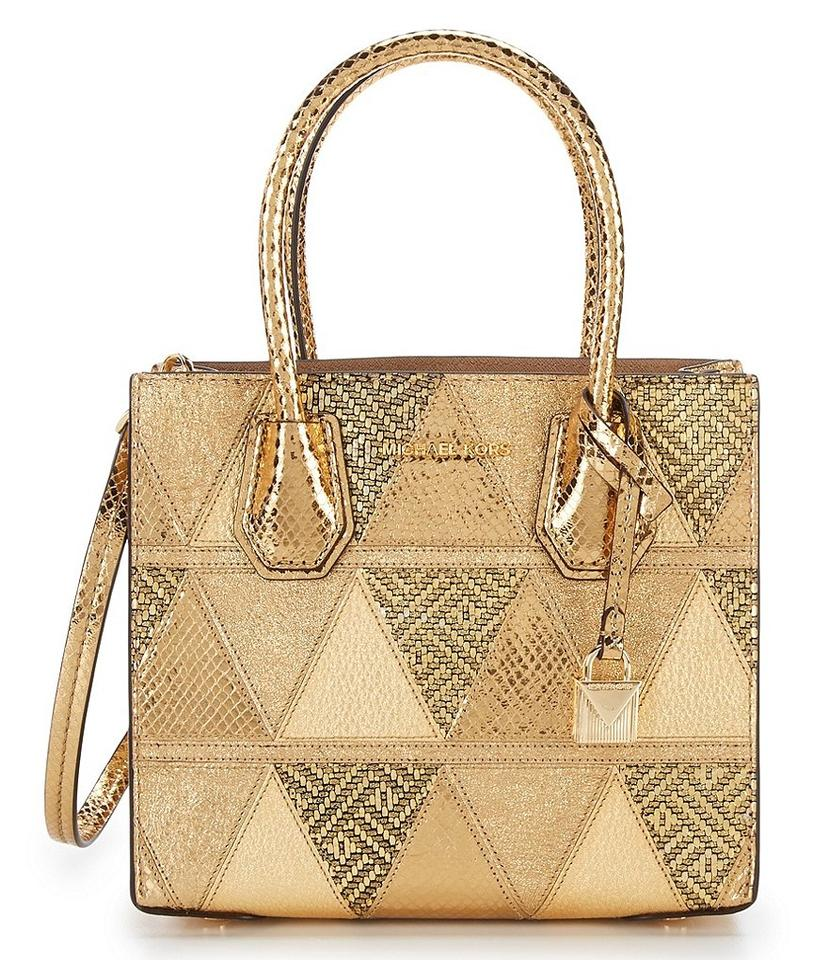 f4070390eb45 Michael Kors Messenger Mercer Metallic Medium Gold Leather Cross Body Bag