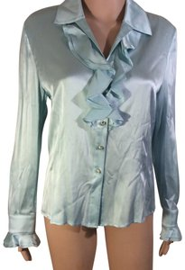 St. John Silk Long Sleeve Button Down Shirt blue