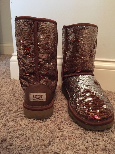 UGG Australia Chesnut and Silver Sequin Boots