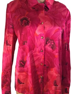 St. John Silk Long Sleeve Button Down Shirt pink
