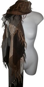 Agnona Beige/Brown Plaid Scarf 70% Alpaca and 30% Wool Made in Italy