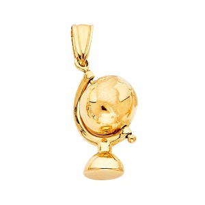 Top Gold & Diamond Jewelry Yellow Gold 14K Globe Pendant