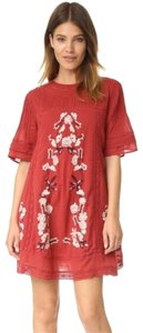 Free People short dress red Lace Black Bell Sleeve on Tradesy