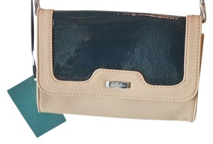 Grace Adele Patent Tan Navy Purse Clutch Cross Body Bag