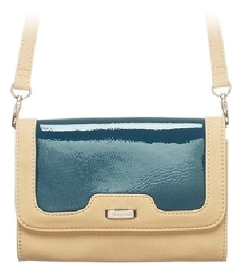 Grace Adele Patent Tan Navy Clutch Cross Body Bag