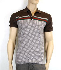 Gucci Multi-color New Men's Diamante Polo Top W/ Grg Web L 251623 2479 Shirt