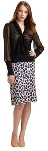 Tory Burch Scalloped Bamboo Silk Tiered Skirt Leopard