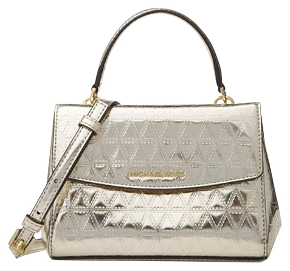 d100c230648b Michael Kors Ava Quilted Silver Leather Cross Body Bag - Tradesy
