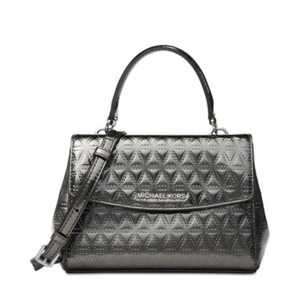 70c6a16cd23e Michael Kors Ava Quilted Metallic Gray Patent Leather Cross Body Bag ...