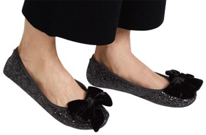Kate Spade Slippers Bow Ballet Black Glitter Flats