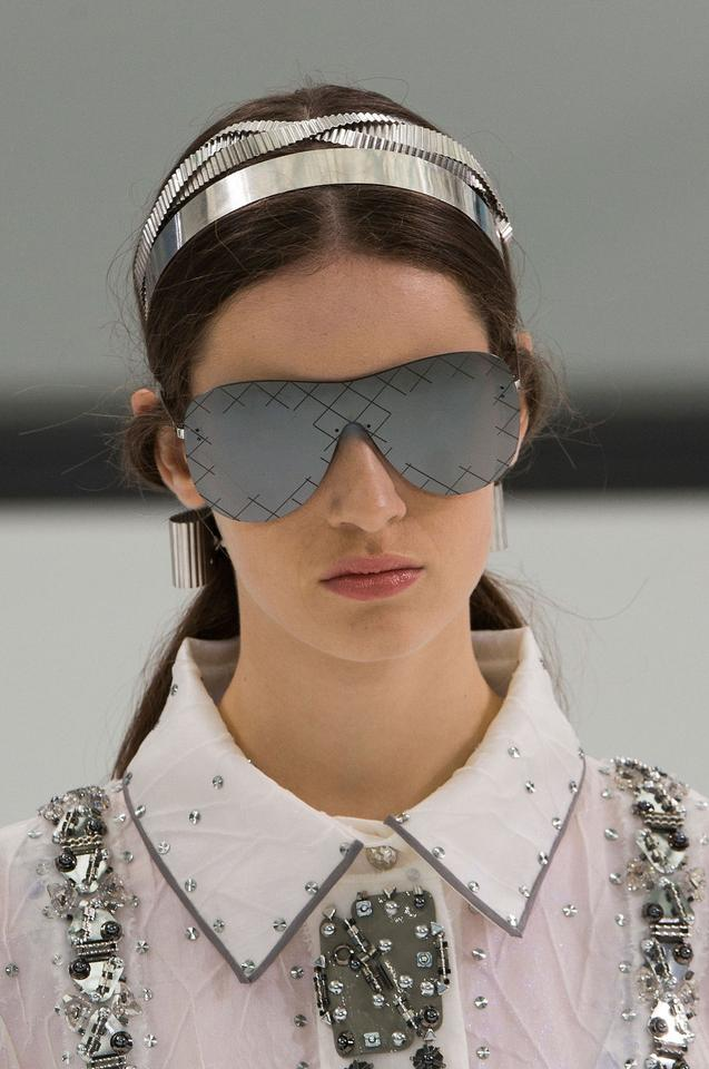 376796998fd Chanel CHANEL 4215 Shield Airline Runway Silver Mirrored Sunglasses Image  10. 1234567891011