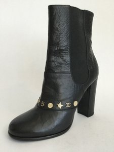 Chanel Charms Black Leather Boots
