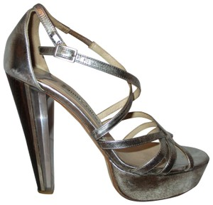 Jimmy Choo Sandals Leather Strappy silver metallic Platforms