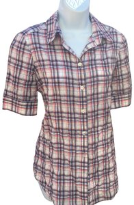 Elizabeth and James Button Down Shirt red/blue/white