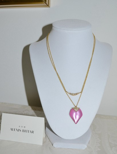 Alexis Bittar ALEXIS BITTAR Lucite Pendant Layered Chain Necklace Pink Heart