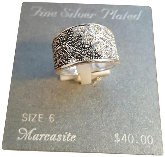 Preload https://img-static.tradesy.com/item/22801608/silver-and-black-brilliant-stunning-fine-silver-plated-marcasite-ring-size-6-ring-0-5-540-540.jpg