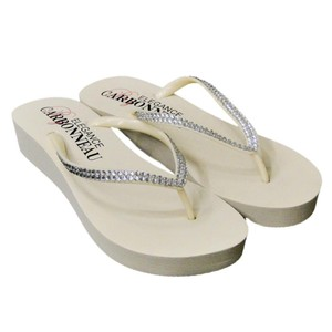 Elegance by Carbonneau Ivory Bridal Wedge Flip Flops with Crystal Straps Sandals Size US 5 Regular (M, B)