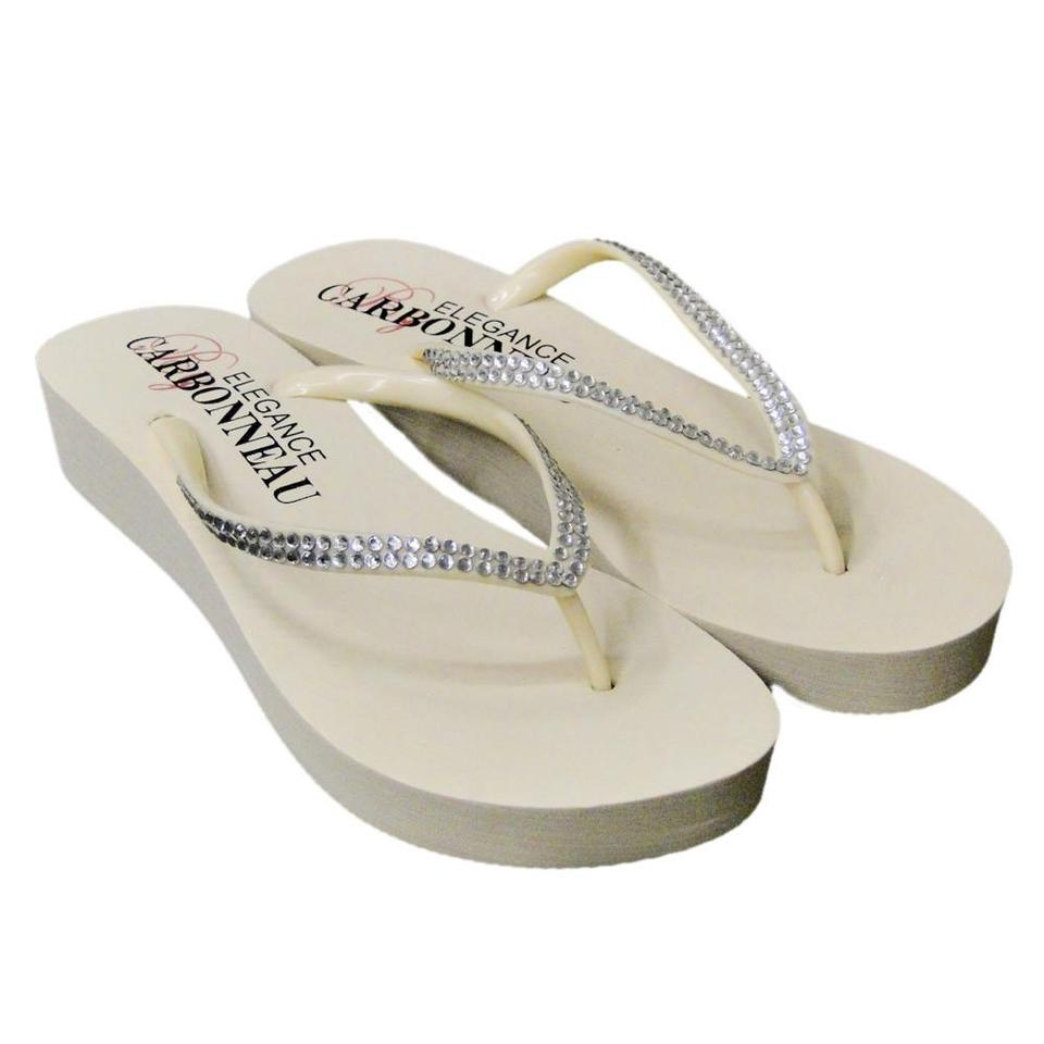 40f8804b9951 Elegance by Carbonneau Ivory Bridal Wedge Flip Flops with Crystal Straps  Sandals. Size  US 5 Regular ...