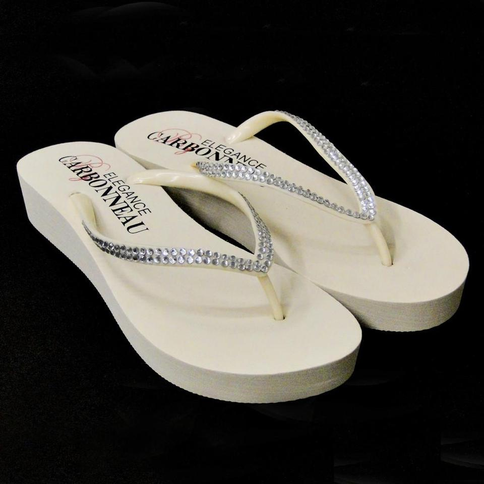 f7c69e7210d8 Elegance by Carbonneau Ivory Bridal Wedge Flip Flops with Crystal Straps  Sandals Size US 5 Regular. 123