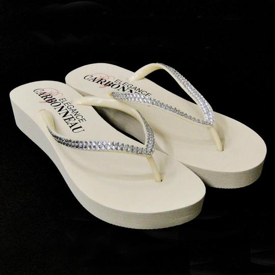 Elegance by Carbonneau Ivory Bridal Wedge Flip Flops with Crystal Straps Sandals Size US 6 Regular (M, B)