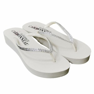Elegance by Carbonneau White Bridal Wedge Flip Flops with Crystal Straps Sandals Size US 6 Regular (M, B)