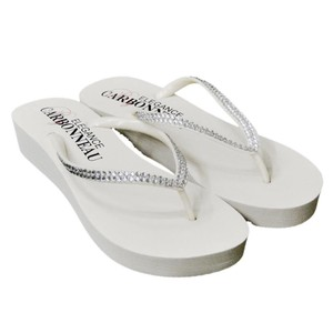 Elegance by Carbonneau White Bridal Wedge Flip Flops with Crystal Straps Sandals Size US 7 Regular (M, B)