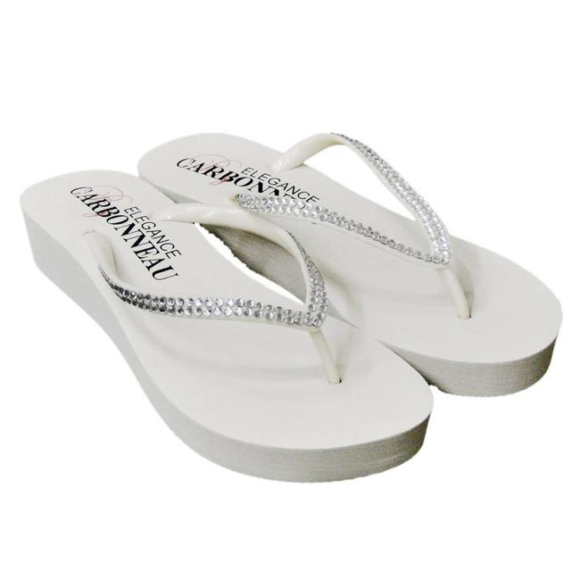 Item - White Bridal Wedge Flip Flops with Crystal Straps Sandals Size US 7 Regular (M, B)