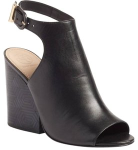 Tory Burch Leather Open Toe Boot Bootie Black Sandals