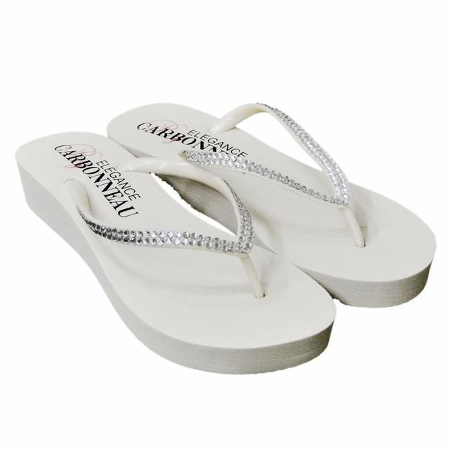 Item - White Bridal Wedge Flip Flops with Crystal Straps Sandals Size US 9 Regular (M, B)