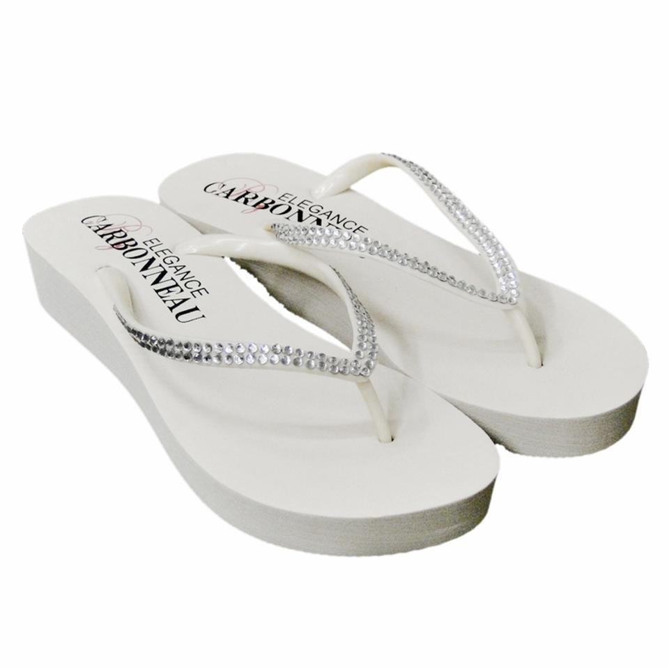 543bb7735d05f Elegance by Carbonneau White Bridal Wedge Flip Flops with Crystal Straps  Sandals