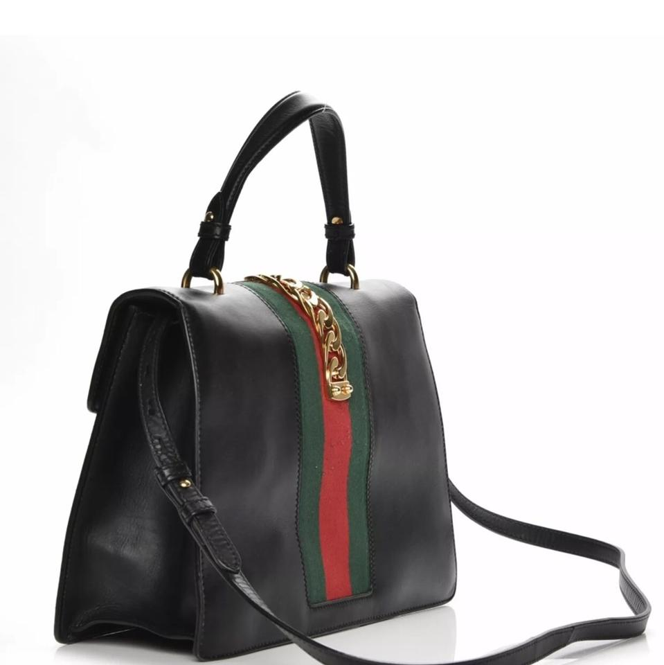 89be2409615b Gucci Sylvie Top Handle Medium Black Calfskin Leather Shoulder Bag ...