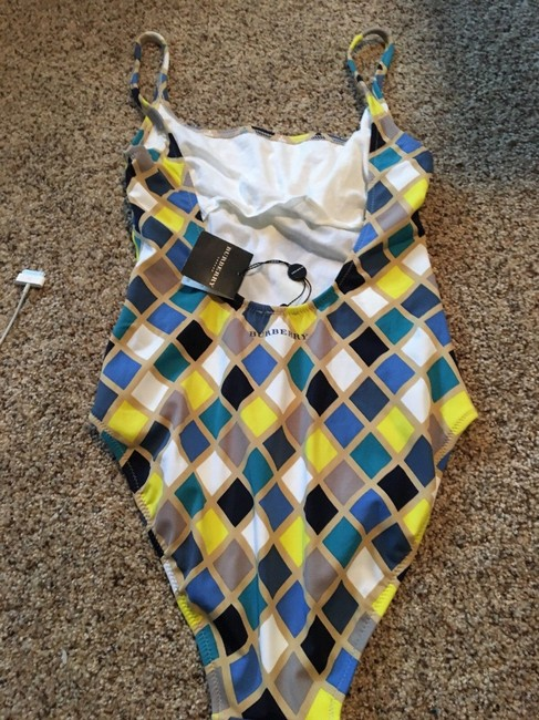 Burberry Womens Burberry One Piece Size L NWT Blue Yellow Checked Swimsuit