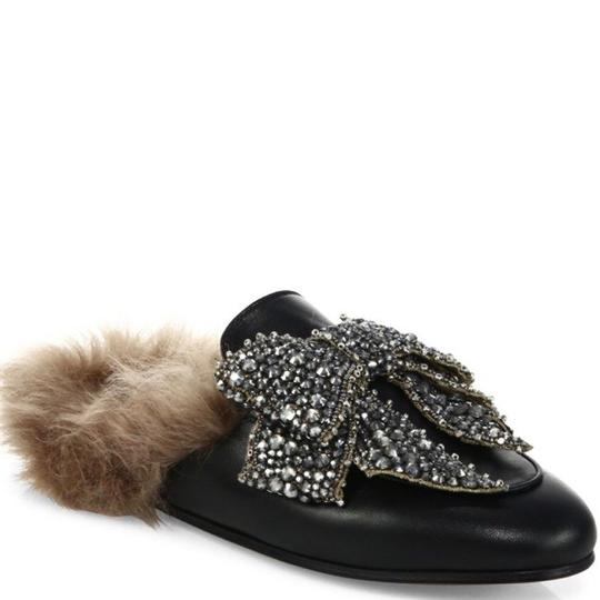 Gucci Princetown Loafers Fur Crystal Black Mules