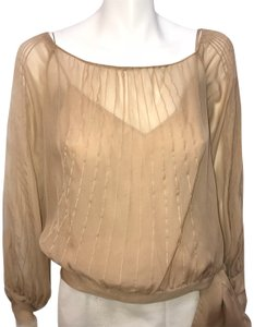DKNY Pleated Silk Top Taupe