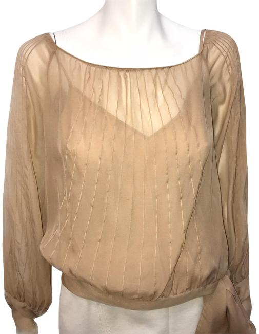 Preload https://item2.tradesy.com/images/dkny-taupe-pleated-blouse-size-4-s-22802051-0-1.jpg?width=400&height=650