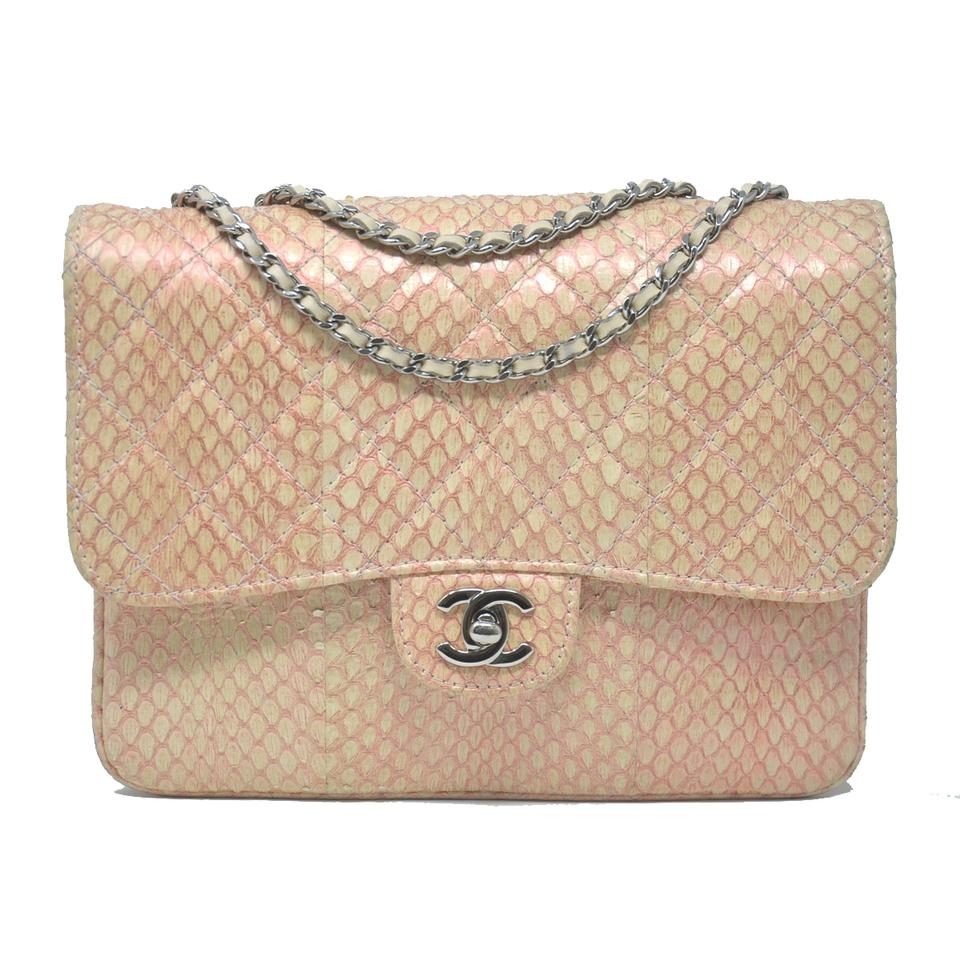 22513b5b090e Chanel Classic Vintage Flap Pink and Beige Python Skin Leather ...