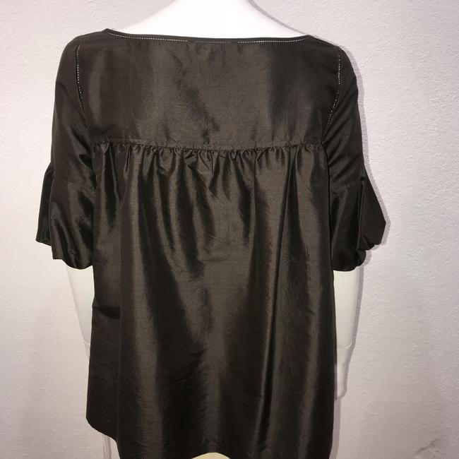 Laundry by Shelli Segal Bubble Hem Silk Top Brown