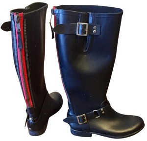RED ZIPPER RUBBER TALL BOOTS Boots
