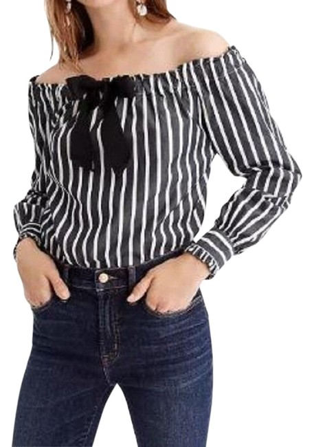J.Crew Striped Bow Off The Shoulder Geniune Top Black White