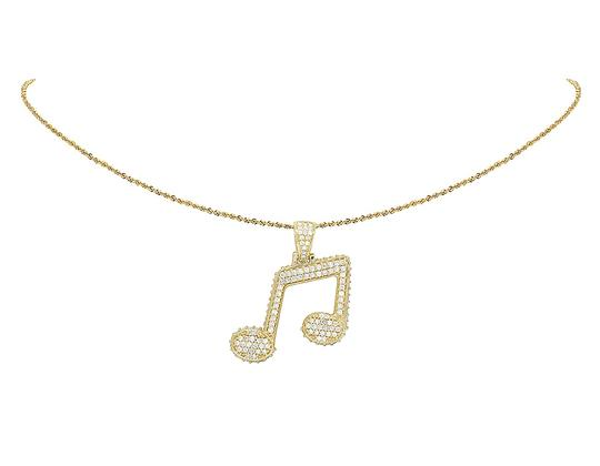 Jewelry Unlimited 10K Yellow Gold 3D Iced Music Note Emoji Sign Real Diamond Pendant 3CT