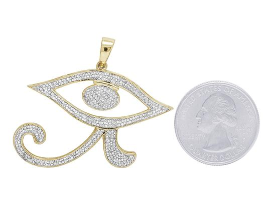Jewelry Unlimited 10K Yellow Gold Falcon Wedjat Horus Eye Of Ra Egyptian Diamond Pendant