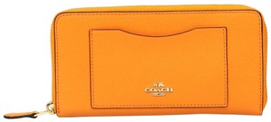 Coach Accordion Zip Tangerine Leather Wallet