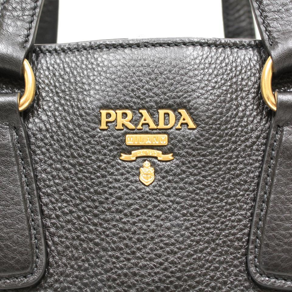 ed10374929ed Prada Women s Vitello Phenix Shopping 1bg043 Black Leather Tote ...