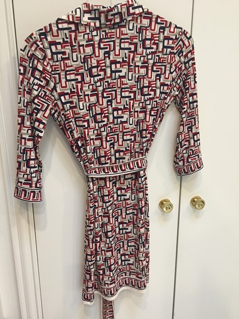 Max Studio short dress blue, red, grey and white 3/4 Sleeve on Tradesy