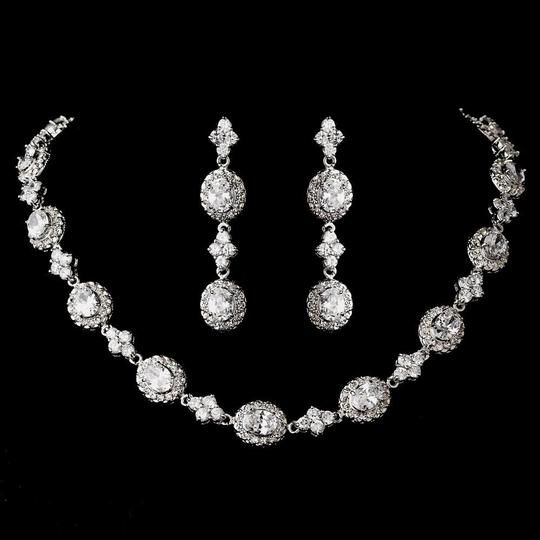 Elegance by Carbonneau Silver Antique Rhodium Plated Cubic Zirconia Necklace Earring Jewelry Set
