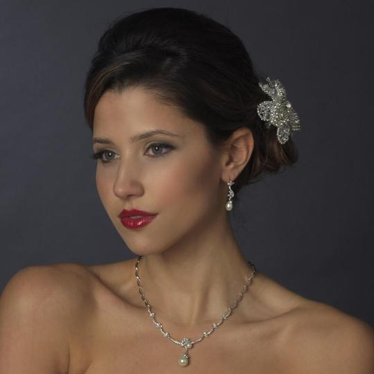 Elegance by Carbonneau Silver Plated Clear Cz Pearl Necklace Earring Jewelry Set