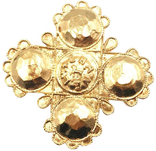 Chanel Chanel Vintage 24K Gold Plated Cross Brooch