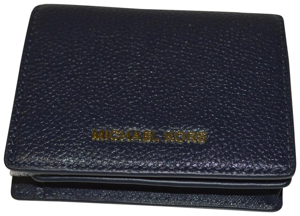 257f76006b83 MICHAEL Michael Kors Dark Navy Blue Mercer Flap Card Holder Admiral ...